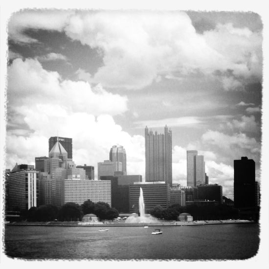 The fountain at Point State Park, downtown Pittsburgh. Taken from the deck of the Gateway Clipper, 7/5/2013