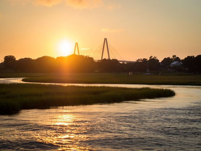 Bridge Bridge Sunsets Sunset Sunset_collection Water Shem Creek Beautiful Beauty In Nature Beautiful Nature Tranquility Tranquillity