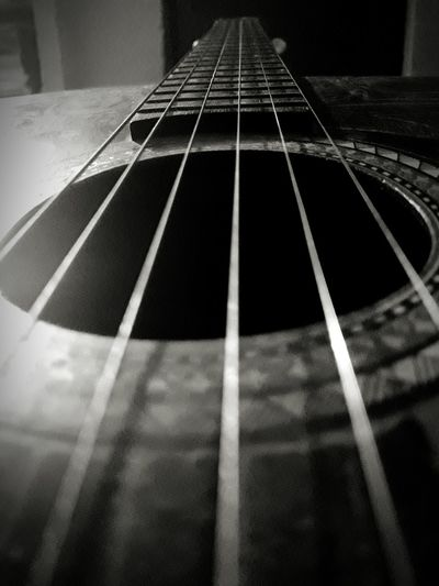 Musical Instrument String Guitar Musical Instrument Arts Culture And Entertainment Indoors  Close-up Classical Guitar Learning Black And White Mobile Phone Photography Beginner Photography Mobilephoto Indoors  Portrait Mobile_photographer Inside My Room Nepal Lalitpur Fretboard No People