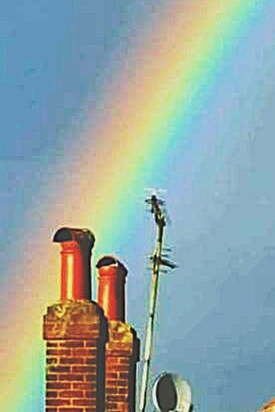 Low Angle View Prism Colors Chimneys Rainbow