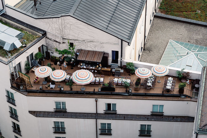 Roof terrace in Munich city centre Architecture Bavaria City City Life Cityscape European  Munich Roof Roof Terrace Travel Architecture Building Exterior Built Structure City Day High Angle View No People Outdoors Residential Building Roof Street Window Window Box