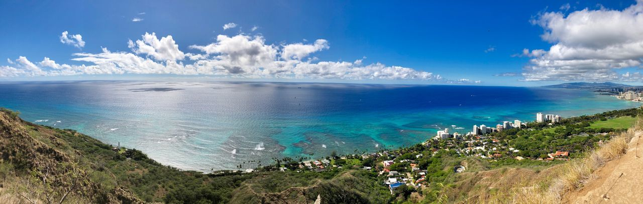 Oahu Diamond Head Sea Beauty In Nature Sky Nature Cloud - Sky Scenics Blue Horizon Over Water Water Tranquil Scene Tranquility Beach Outdoors Vacations