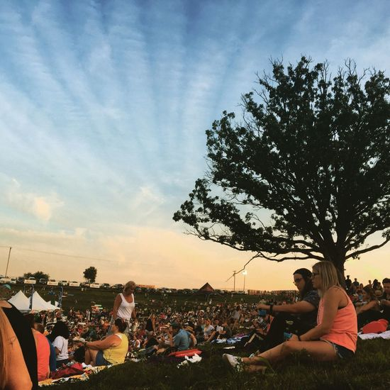 Festival Season Hinterlandiowa Iowa Festival Crowd Sitting Outside Audience Sunset Venue Festivals