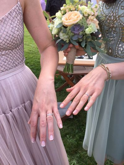 Wedding Photography The Moot Outside Photography Outside Wedding Wedding Dresses Brides Beautiful Hands Just Married Wedding Rings Couple Love Together Togetherness Close-up Focus On Foreground Bouquet Of Flowers Bouquet Two Is Better Than One Millennial Pink