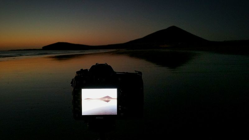 Morning! Photography Themes Reflection Wireless Technology Camera - Photographic Equipment Nature Liquid-crystal Display No People Lake Device Screen Digital Viewfinder Sky Outdoors Digital Single-lens Reflex Camera Filming medano