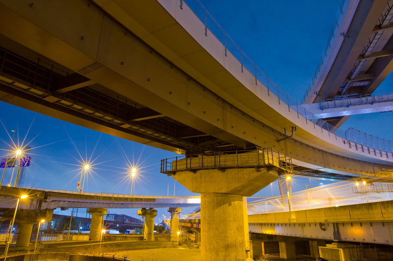 Built Structure Architecture Illuminated Bridge Low Angle View Sky Connection Bridge - Man Made Structure Transportation Nature No People Building Exterior Night Blue Architectural Column Elevated Road Outdoors Dusk Clear Sky Overpass Highway Japan Japan Photography Cross