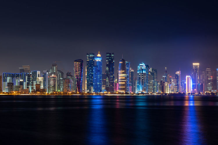 Doha skyline lluminated at night