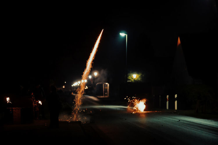 Firework On Road In City At Night
