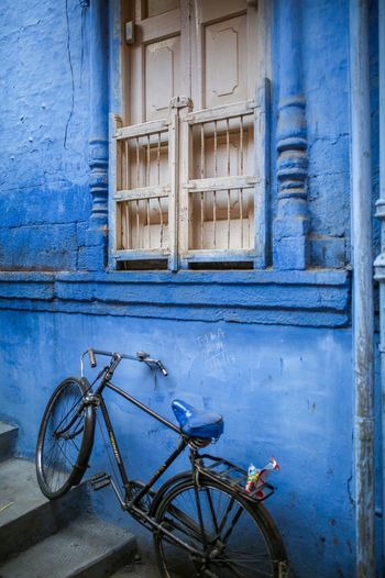 Blue city wall Blue Walls Blue City Jodhpur Architecture Bicycle Built Structure Building Exterior Window Building No People Blue Stationary House Transportation Mode Of Transportation Old Wall - Building Feature Outdoors Safety Entrance Door