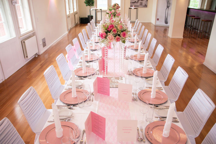Arrangement Chair Decoration Dining Table Drinking Glass Flower Flowering Plant Food And Drink Furniture Glass High Angle View Household Equipment Indoors  No People Place Setting Plant Preparation  Seat Setting Still Life Table