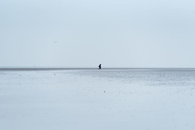Mid distance view of man at beach against sky