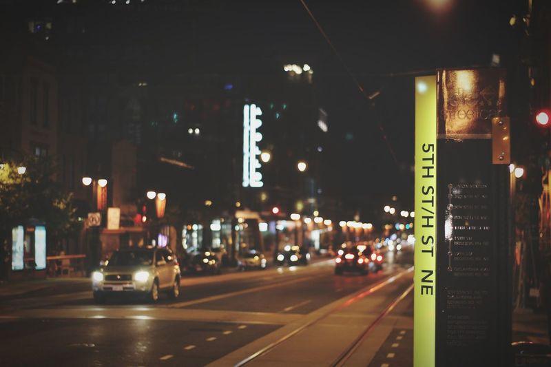 h street ne Washington, D. C. Night Illuminated Transportation City Road Northeastdc Streetcar Transit Outdoors No People Nightlife Car Building Exterior Built Structure Architecture Fire Engine Wine Not