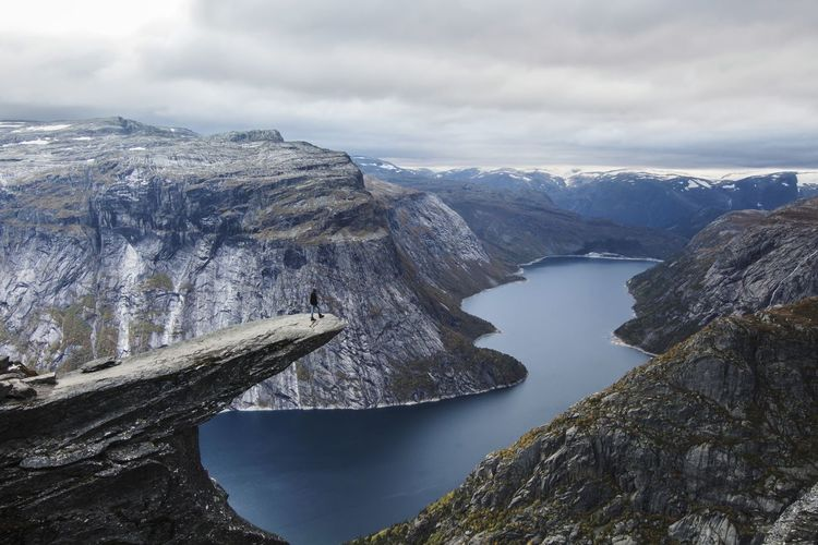 On the Top of Trolltunga. Norway🇳🇴 Trolltunga Been There. Done That. Lost In The Landscape Warm Clothing Scary Beauty Cold Temperature Cloud - Sky Water Snow No People Outdoors Lake Travel Destinations Landscape Nature Mountain Day Scenics Beauty In Nature Astronomy Sky Photographer An Eye For Travel