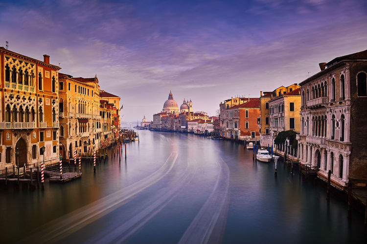 Grand Canal Architecture Building Exterior Canal City Cityscape Gondola - Traditional Boat History Long Exposure Nautical Vessel No People Outdoors Reflection Sky Sunset Travel Travel Destinations Venezia Venice Venice, Italy Venise Water