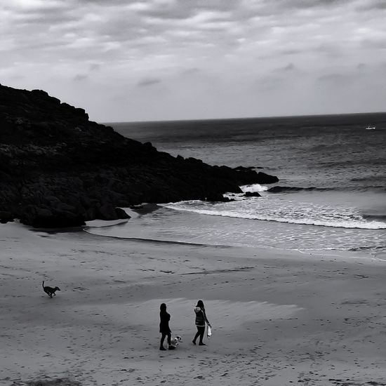 Beach Sand Sea People Landscape Outdoors Dog Vacations Day Sky Water Seascape_lovers Beach Day Beach Walk Beach Life Travel Destinations Beauty In Nature Beachphotography Sea Life Nature Black And White Photography Blackandwhite Monochrome _ Collection Monochrome Photography Nature