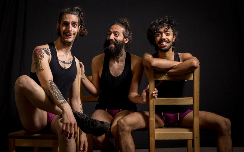 Theather actors having fun during their performance Actor Adult Artist Circus Friends Piercing Show Tattooed Theater Backstage Comedian Comedy Different Entertainment Friendship Hilarious Men People People Photography Performance Performance Group person Real People Three Togetherness
