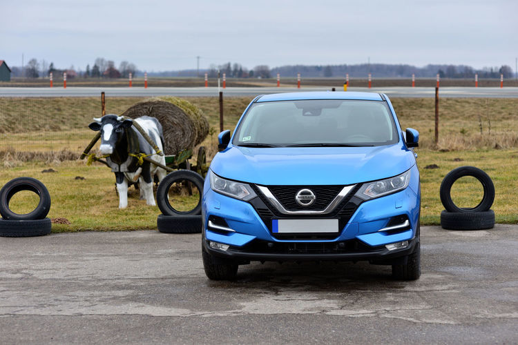 The new Nissan Qashqai 2018 is light blue. 2018 New New Model Nissan SUV Car Day Land Vehicle Mode Of Transport No People Outdoors Qashqai Road Sky Transportation