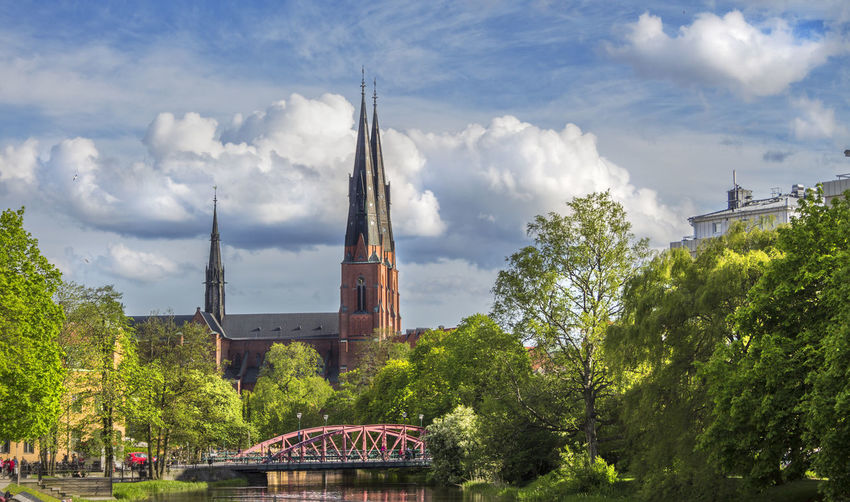 Majestic church Architecture Building Exterior Built Structure Church Cloud - Sky Day Green Color Nature No People Outdoors Sky Transportation Tree Uppsala Domkyrka Uppsala Sweden