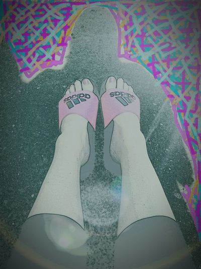 One Person Human Body Part Adult Multi Colored Low Section Day South Dakota Sioux Falls Just Relaxing Taking Pictures Just Mommin Messing Around With Filters  Feet On The Ground Feetselfies Sandalsandtoes Summer 2017 🏊🌞 Just My Feet My Size 6 AdidasLover❤ Pink Cartoonized Cartoon Feet Cartoon Effect  Sioux Falls Feet On The Street