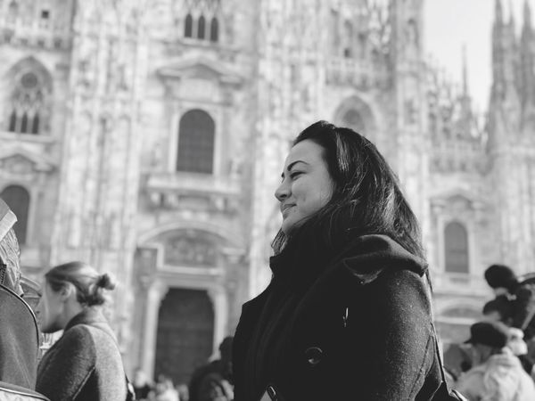 Black And White Travel Destinations Columns Architecture Duomo Di Milano Duomo Fun Having Smiling EyeEm Selects Real People Architecture Built Structure Building Exterior Women Focus On Foreground Lifestyles Clothing Incidental People Leisure Activity Religion Winter Group Of People Waist Up Standing Adult Day City People Belief