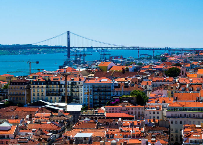 High angle view of buildings by april 25th bridge over tagus river