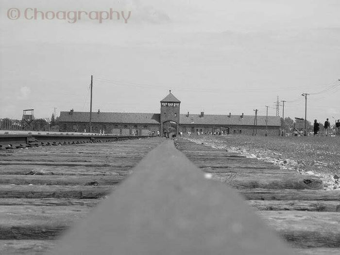 "This shot was taken on a basic camera while visiting the Nazi Concentration Camp, Auschwitz. This rail line was the last of countless numbers of European Jews. Dr. Mangala ""practiced"" here, mostly on children, nameky twins. The Israeli Mossauf is believed to have hunted him dead, in the 1970s in Argentina. Hoo-ray. Travel Photography Historical Building Nexus5 Aushwitz-Birkenau Krakow,Poland WWII History WWII Concentration Camp  Monochrome Urban Landscape Urbanphotography The City Light The City Light"