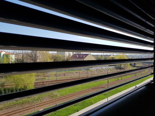 city Supermarket Railway Bridge Train - Vehicle Public Transportation