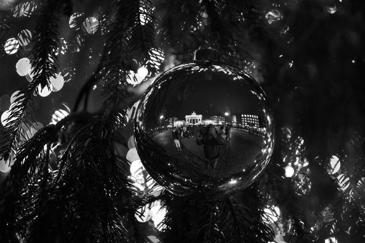 Low angle view of christmas tree hanging