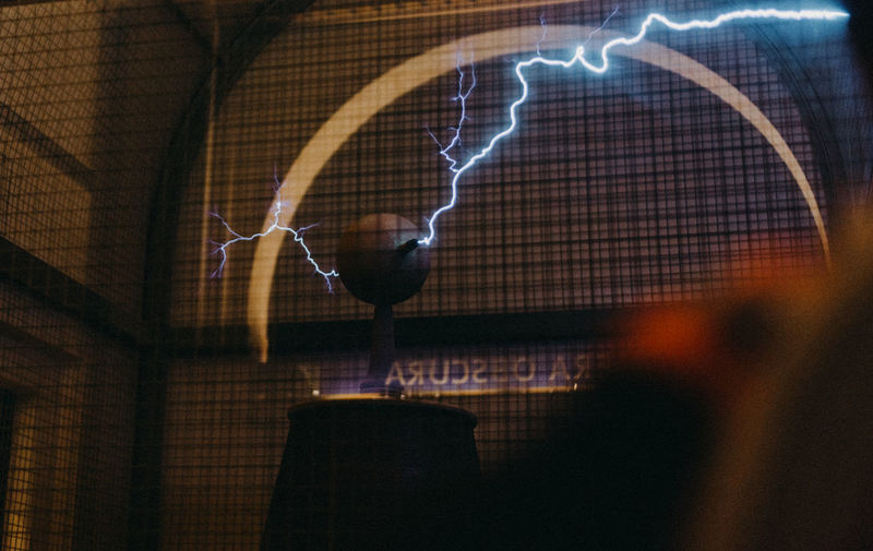 Tesla Coil Architecture Blurred Motion Building Built Structure City Electric Light Electricity  Illuminated Indoors  Light - Natural Phenomenon Lighting Equipment Long Exposure Motion Nature Night No People Pattern Power In Nature Silhouette