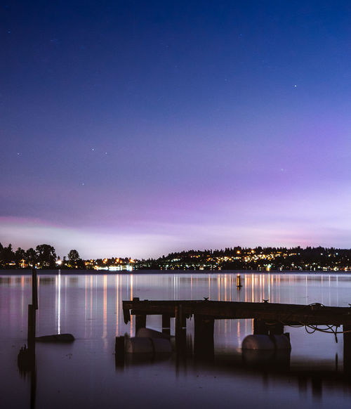 Seattle Night Refections Architecture Astronomy Beauty In Nature Blue Constellation Galaxy Illuminated Lake Moon Nature Night No People Outdoors Reflection Scenics Sky Space Star - Space Tranquil Scene Tranquility Water