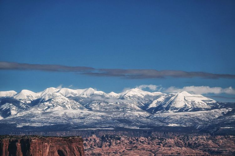 Scenic view of snowcapped mountains at canyonlands national park