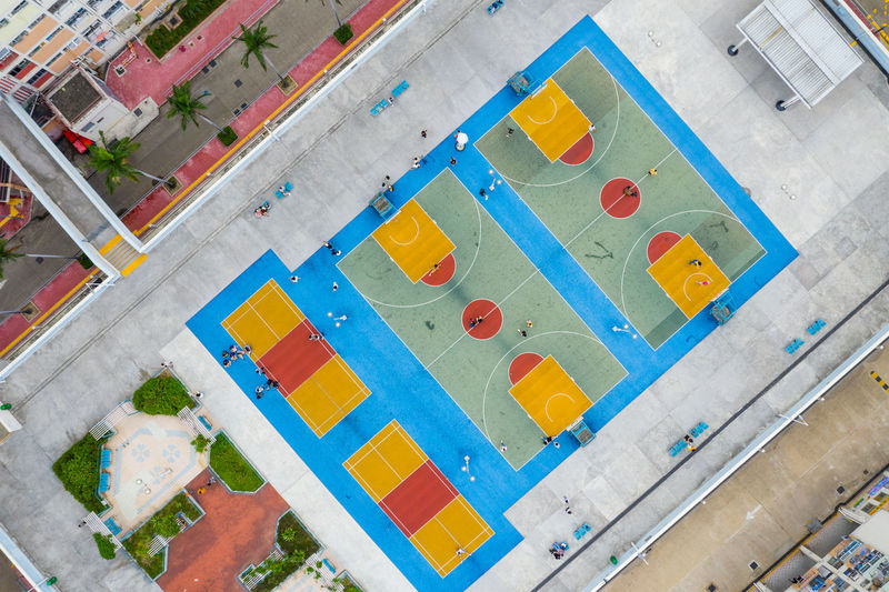 High angle view of multi colored swimming pool in building