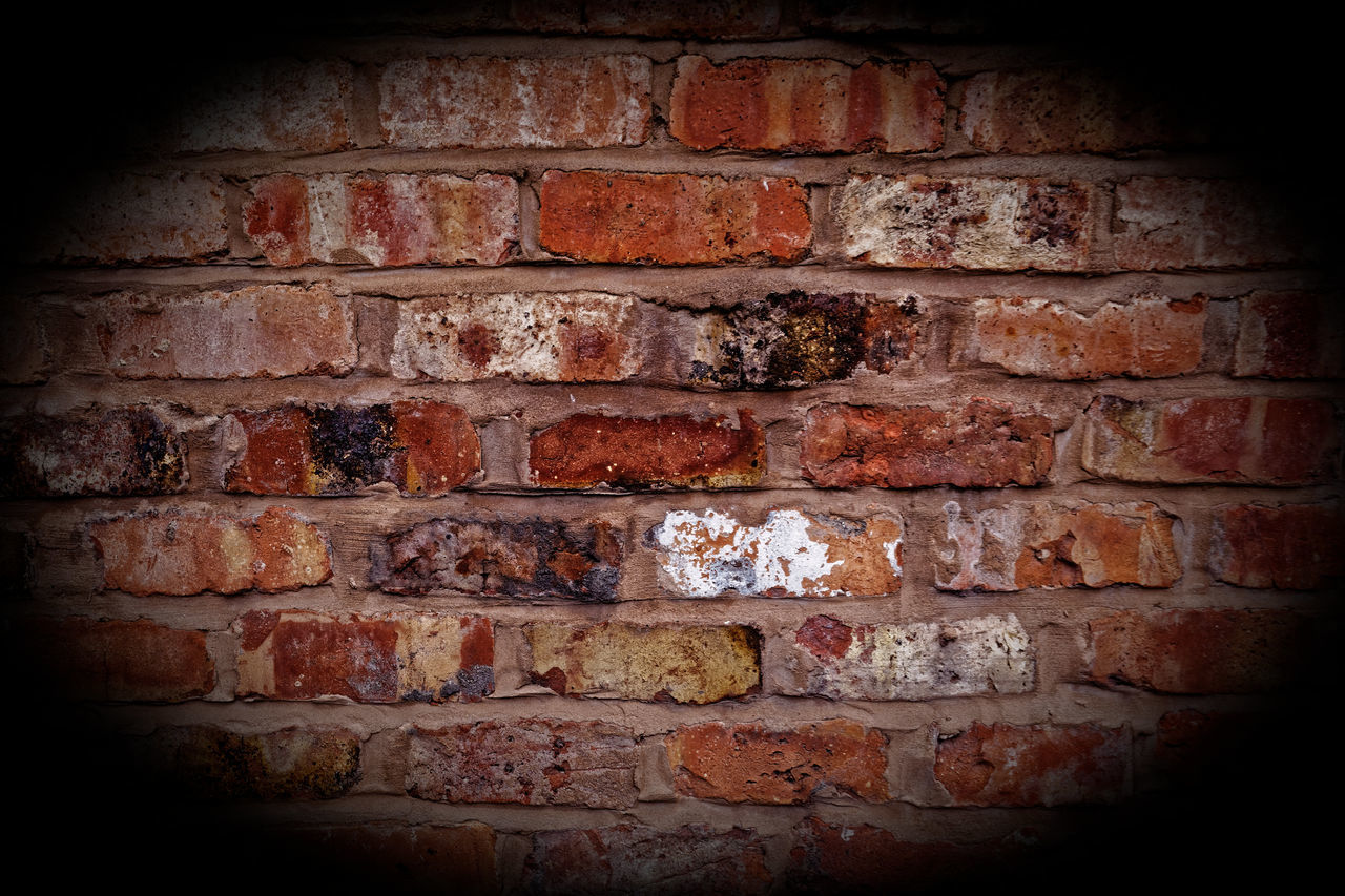 brick wall, wall - building feature, red, brick, dirty, architecture, weathered, no people, vignette, day, built structure, close-up, backgrounds, rotting, outdoors
