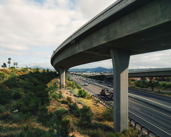 Bridge - Man Made Structure Connection Architecture Built Structure Cloud - Sky Viaduct Highway Road Transportation Outdoors Sky Day Architectural Column Tree Landscape No People Urban Skyline Cityscape