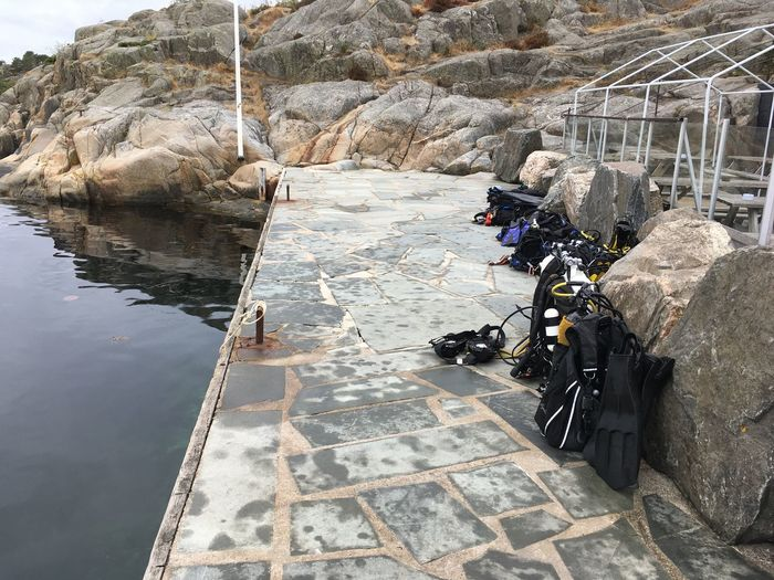 Diving Equipment Pier Scuba Diving Day No People Outdoors Rock Water