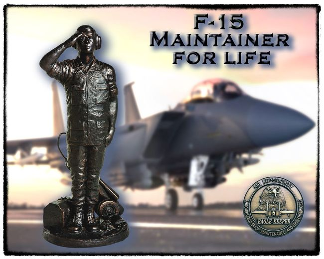F-15 MAINTAINER POSTER GOLD Air Force Eagle F-15 Strike Eagle Strike USAF United States Airman Airmanisbeach Close-up Crewchief Day Dircraft Human Representation Maintainer Maintenance No People Outdoors Pilot Power In Nature Sculpture Sircraft Specialist Statue Text
