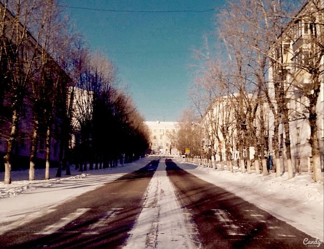 Darkness And Light Ulan-Ude Winter Snow Streetphoto Morning Trees Road