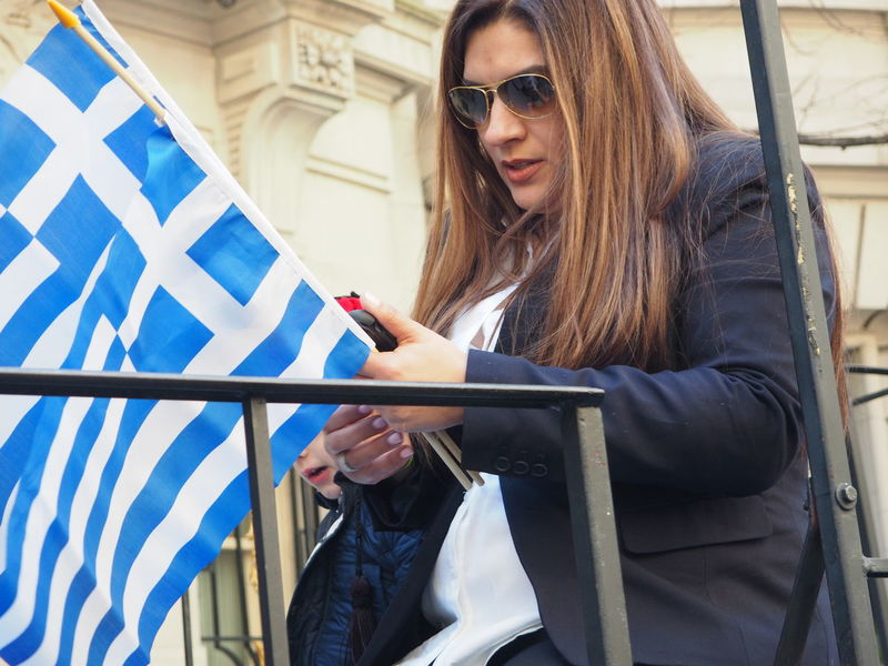 Flag GREECE ♥♥ Greek Flag Greek Independence Day Parade Long Hair NYC NYC Photography Parade Patriotism Sunglasses