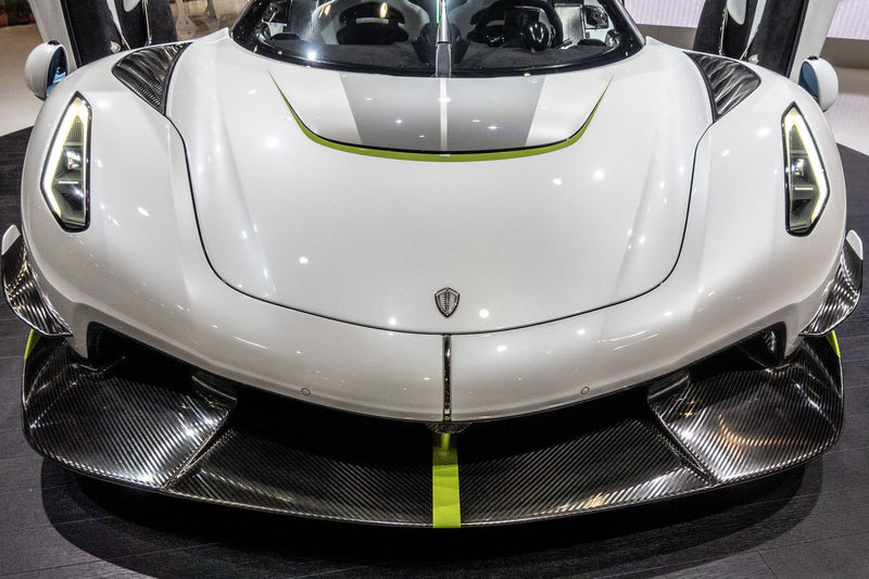 Mode Of Transportation Car Motor Vehicle Transportation Land Vehicle White Color High Angle View Shiny Focus On Foreground Koenigsegg Jeko Geneva GenevaInternationalMotorshow2019 Front View Sportcar Hypercar Spoiler