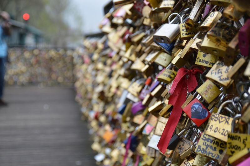 Love locks on pont des art