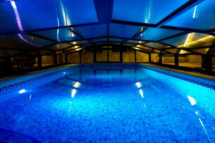 Illuminated lights in swimming pool