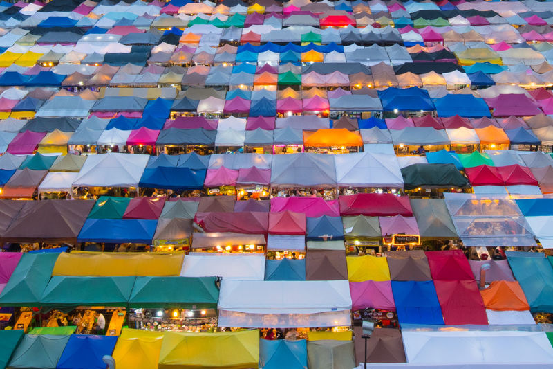 High angle view of multi colored umbrellas