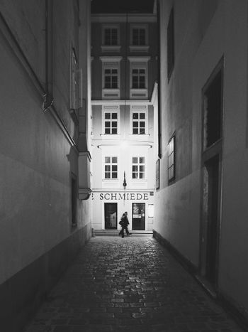 Architecture Built Structure Full Length Building Exterior Walking People Adult Real People Day Men City Outdoors Adults Only Wien Vienna Vienna By Night.. Vienna Black And White Bnw Streetphoto_bw Streetphotography Schwarzweiß Alleyway Gasse 1. Bezirk Wien Old Town