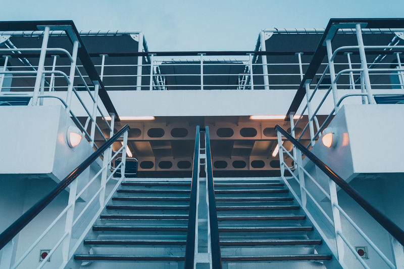 Low Angle View Of Staircase In Cruise Ship