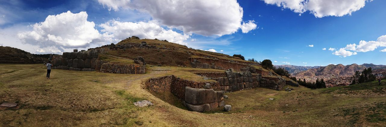 Panoramic view of old ruin at sacsayhuaman against sky