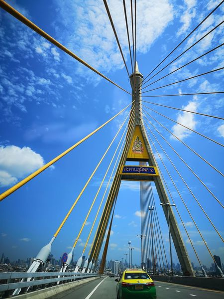 Traffic Bangkok Blue Sky Huawei P20 Pro Perspective Low Angle View City Suspension Bridge Cityscape Bridge - Man Made Structure Cable Car Sky Architecture Built Structure Cloud - Sky Land Vehicle Steel Cable Engineering Urban Skyline