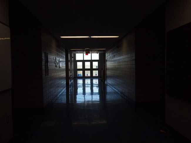Empty Places EyeEmNewHere Hallway High School Architecture Built Structure Door Empty End Indoors  Light And Shadow No People Window