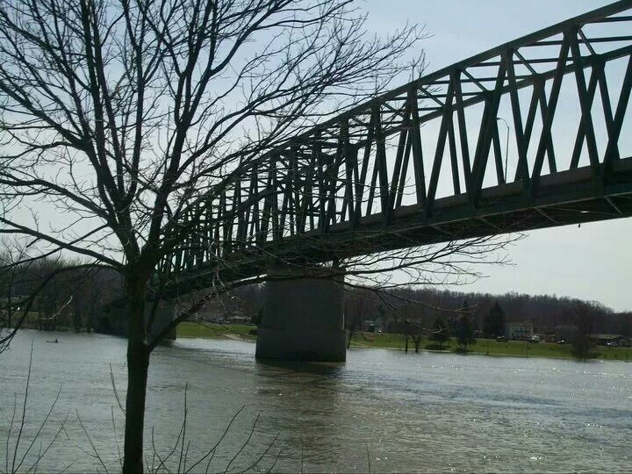bridge - man made structure, connection, architecture, engineering, river, water, built structure, outdoors, day, tree, bare tree, sky, transportation, bridge, no people, nature