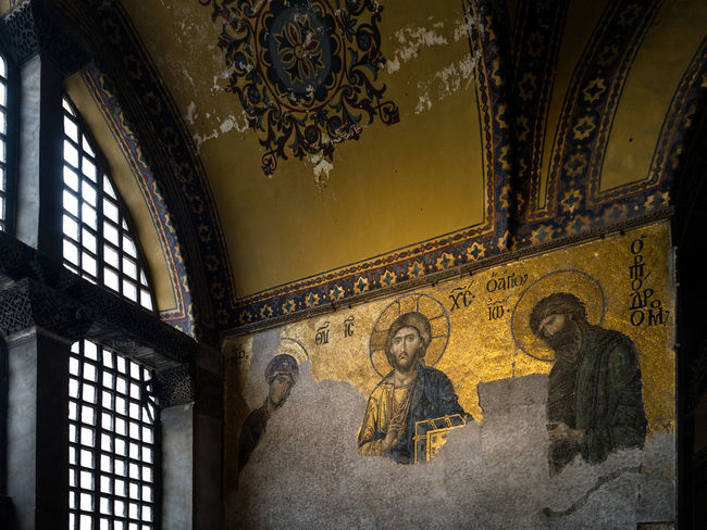 Turkey, tourism, old town, recreation, Istanbul, interior, Cathedral of St. Sophia, mosaic, Byzantine mosaic, Christ, St. Maria Architecture Built Structure Byzantine Mosaic Cathedral Of St. Sophia Christ Day History Human Representation Indoors  Istanbul Mosaic No People St. Maria Travel Destinations Turkey Window ıstanbul