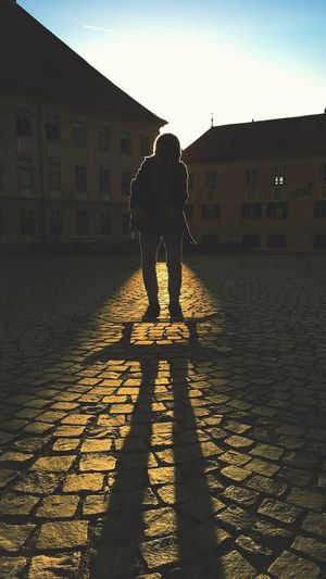 Building Exterior Shadow Cobblestone Full Length Architecture Built Structure Sunlight Standing Real People Silhouette Day Outdoors One Person Men People